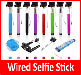 Z07-5s 5plus z07-5 plus Extendable Handheld Wired Control Monopod groove monopods Selfie Stick Clip Remote Controller For iPhone Android