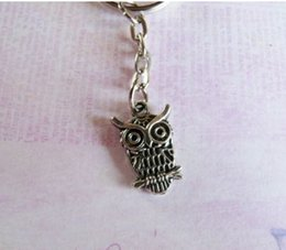 Wholesale Fashion Vintage Silver OWL Charms Key Chain  Key Ring   Bag Jewelry DIY Free Shipping 100PCS P993
