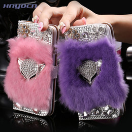 for i6  Plus! Bling Diamond Fox Rabbit Fur Hair Wallet Stand Leather Case for iPhone6 6s   iPhone6 6s Plus Magnetic Sexy Cover