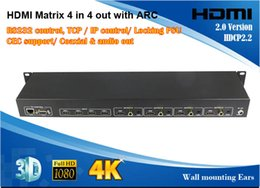 Wholesale 2015 New Arrival HDMI Matrix x4 with ARC Kx2K D P CEC support coaxial and audio out TCP IP control RS232 control