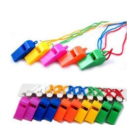 Free Shipping 50 Pieces Lot Mix Color Plastic Whistle With Lanyard For Boats Raft Party Sports Games Emergency Survival