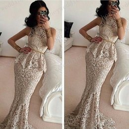 New 2019 Elegant Mermaid O-Neck Sleeveless Formal Evening Gowns Floor Length Long Lace Prom Dresses Red Carpet Dress With Sashes
