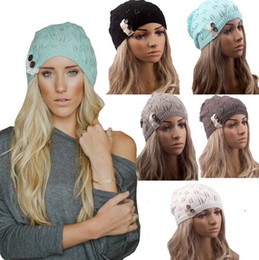 Wholesale PrettyBaby Womens Fashion Winter Warm Lace Crochet Knitted Button Wool Hats Beret Beanie Ball Ski Cap Handmade Lace Warm Hat