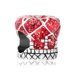 Wholesale Metal Rhodium Plating Fashion Red Enamel Flower Charm European Charm Beads For Pandora Charm Bracelet