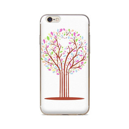 Wholesale For iPhone 4 4S 5 5S 5C 6 6S 6Plus Paint Tree White Background Of Skin TPU Silicone Gel Protective Cover