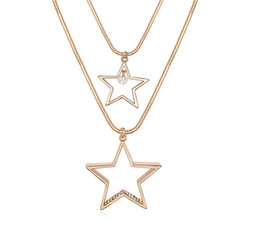 Stars Pendants Double Necklaces Gold Plated Long Sweater Chain Necklace For Women Charm Designer 11138