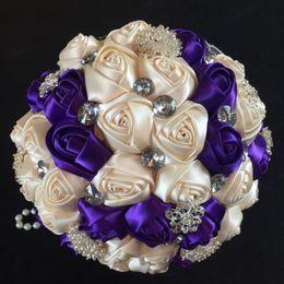 Elegant Customized Color Royal Blue Ivory Ribbon Diamond Flower Bouquet Bridal Bridesmaid Hands Holder Silk Jewelry Wedding Bouquets