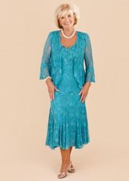 Wholesale New Elegant Turquoise Plus Size Mother of the Bride Lace Dresses Tea Length Wedding Party Gowns De Los Vestidos De Novia Madrinha