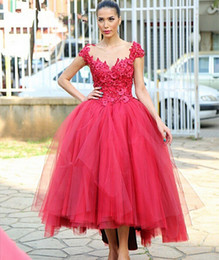 2016 Trend Red Ball Gown Prom Dresses Scoop Tea-Length Lace Flower Tulle Appliques Capped Sleeve Vestido De Formatura Robe De Bal d014