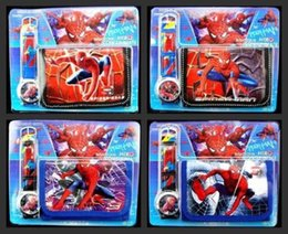 New spider man Faux Leather Quartz Watches and Wallet Sets Children Gifts biao43