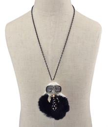 Fashion Black Chain Thread Rope Wool Rhinestone Cool Glasses Boy Sweater Long Chain Doll Pendant Necklace