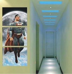 Скидка фотографии панели Холст печати Картина в ночном небе Супермен Большой HD Top-Rated Wall Art Picture Gift 3 Панель для гостиной
