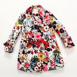 Wholesale Girls Coat Children Outerwear Coats Floral Pattern Wind breaker Long Single breasted Kids Jackets Girl Outwear Brand New
