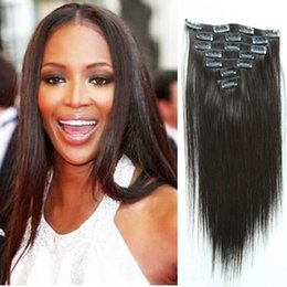 """7A 14""""- 26"""",8pcs Unprocessed Brazilian remy Hair straight clip-in hair remy human hair extensions, 1B# Natural black ,100g set,"""