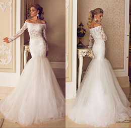 Wholesale 2016 Custom Made Best Selling Mermaid Bride Dress Long Sleeve Boat Neck New Collection abiti da sposa Long Fitted Wedding Gowns BA1554