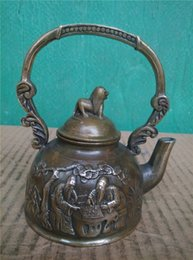 Wholesale Christmas Gift checkerboard pattern brass ornaments antique copper teapot small jug to do the old two models optional