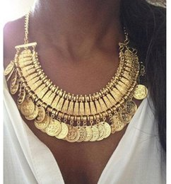 Wholesale LatestTurkish Jewelry for women fashion vintage Boho Coin chunky choker Necklaces antique Silver and gold statement necklace Indian jewelry