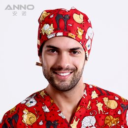 Wholesale Men cute cats sweatband printing scrub cap surgery surgical hat cap chef cap