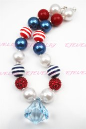 Chunky Gumball Necklace-Red, White & Blue with extra large pendent- Large acrylic beads CB128