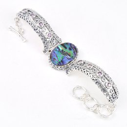 Wholesale Luckyshine Holiday Gift Shiny Antique Natural Abalone Shell Amethyst Gem Sterling Silver Plated Bracelets Bangles Russia Bangles