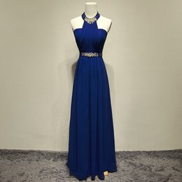 Stunning Unique Design Womens Sexy Halter Rhinestone Blue Color Long Bridesmaid Fashion Womens Spring Wedding dresses
