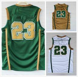 Wholesale High School Jerseys Rev Mesh Throwback Jerseys Retro Jerseys Gold Green White Colors Size S XXL