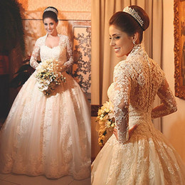 Vintage Lace Wedding Dresses with Long Sleeves 2016 Applique Beads Ball Gowns High Neck Bridal Plus Size wedding Style Arabic dresses