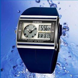 Wholesale New Arrival OHSEN Watch Digital Alarm Dual Time Waterproof LED Display Sport Men Watches colors