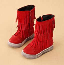 Wholesale 2015 winter children s Martin boots Gaotong fringed side zipper leisure thick warm baby boots yard pair F