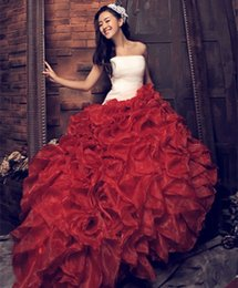 Wholesale 2015 New arrival beautiful Charming NEW Red Wedding Dresses Quinceanera Evening Formal Party Ball Gown Photo Studio