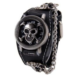 Roches de mode à vendre-Attractive élégant Black Punk Rock Chain Skull Montres Femmes Hommes Bracelet Cuff Gothic Wrist Watch Fashion Hot SP14
