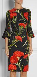New Women Romantic Flower Print Dress Elegant Flare Sleeve O-Neck Sheath Party Dresses A5057