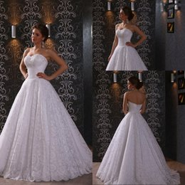 Top Selling A Line Sweetheart Floor Length White Lace Wedding Dresses Lace Up Low Price Bridal Gowns With Appliques vestido de noiva