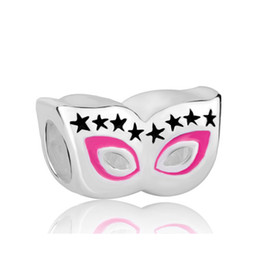 Hand pink and black color enamel with Rhodium plating Cat mask Bead Charm Fit Pandora Bracelet
