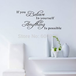 2014 New Home Decoration Wall Quote Sticker Decals Decor If You Believe in Yourself Wall Stickers Art Free shipping