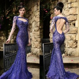 Top Quality Long Sleeve Mermaid Prom Dresses 2019 Rami Salamoun Sexy Mermaid Backless Crystal Beaded Sequins Lace Formal Evening Gowns