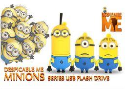 Wholesale USB Cute Minions Series USB Flash Drive memory storage stick U disk pendriver GB GB GB GB GB usb2 pen drive real capacity
