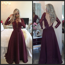 Dazzling V-neck Long Sleeve Prom Dresses 2016 Sexy See Through Back Pearls Beaded Purple Satin And Lace Evening Gowns Formal Dress