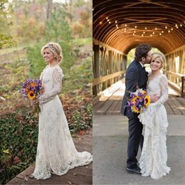 Pastels 2016 Beach Wedding Dresses Long Sleeves Court Train Country Bridal Gowns V-Neck Applique Backless Vintage Formal Wedding Dresses