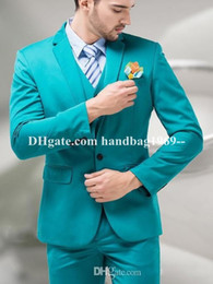 New Arrivals One Button Turquoise Groom Tuxedos Notch Lapel Groomsmen Mens Wedding Dress Clothing Prom Suits (Jacket+Pants+Vest+Tie) AA1092