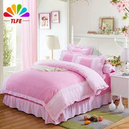 Wholesale-TLFE Princess Lace Ruffles Luxury Bedding Set Cotton Bed Sheet Duvet Cover Pillowcase King Queen Size housse de couette SJT0004