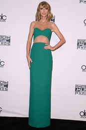 Hunter Green Sheath Evening Dresses with Sheer Neck Vestidos De Fiest Celebrity Dresses Red Carpet Fashion Cheap Prom Gowns 2015