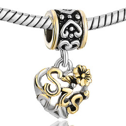 Wholesale Hollow flower heart love sis sister mom aunt grandma European style dangle bead drop lucky charms Fits Pandora charm bracelet
