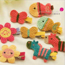 Wholesale Hot sale Children s hair accessories cute cartoon pony cloth woven by hand hairpin side clip BB folder