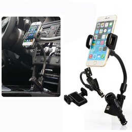 Wholesale Universal Car Cigarette phone holder Mount Stand Dual USB Charger Cradle For iPhone Samsung Galaxy Note A8 Lenovo Acer