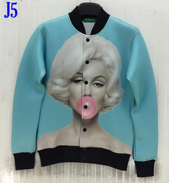 Sky blue color 3d jacket for men women 3d outwear tops print blowing bubbles Monroe jacket good quality baseball uniforms J5