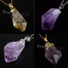 Wholesale 10Pcs Charms Silver Gold Plated Natural Amethyst Yellow Quartz Crystal Gemstone Random Shape Pendant Necklace Jewelry
