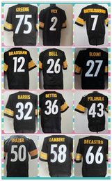 Wholesale New Product Pittsburgh Men s American Football ROETHLISBERGER BELL POLAMALU VICK BROWN GREENE Black Elite Jersey Shirt