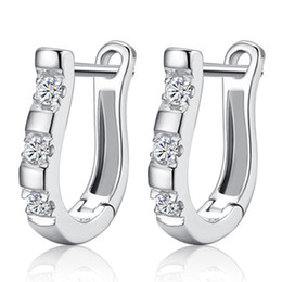 Hot 925 sterling silver items jewelry earrings wedding crystal charms moon shaped vintage fashion new arrival