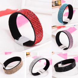 Wholesale Couple magnetic clasp charm Bracelets Korea male and female velvet hot drilling geometry drill magnetic clasp bracelet jewelry